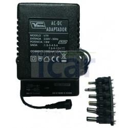 Transformador Adaptador Universal AC/DC de Luxo 1,000mA - 23,5W