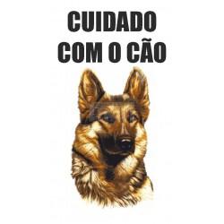 Placa Cuidado com o Cão Pvc e vinil